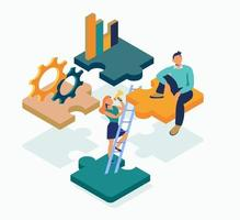 Isometric puzzle of four piece flat illustration vector