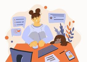 Flat illustration about work at home and freelance. The girl works vector
