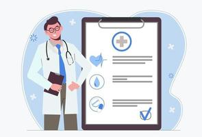 Male doctor. Medical insurance. Doctor's appointment. vector