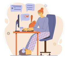 Flat illustration about work at home and freelance. vector