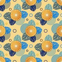 Seamless pattern with oranges and leaves of tropical plants vector