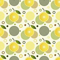 Seamless pattern with sprinkled lemons and simple geometric shapes vector