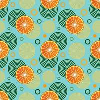 Seamless pattern with sprinkled oranges and simple geometric shapes vector