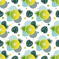 Seamless pattern with lemons and leaves of tropical plants vector