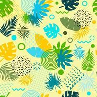Seamless pattern with tropical leaves of plants. Flat style. vector