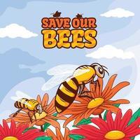 salva nuestro concepto de abejas vector