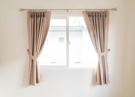 Empty curtain interior decoration on wall in living room photo