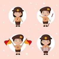 Cute Pramuka Cartoon Set vector