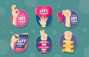 Cute Lefthander Day Sticker vector