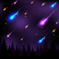Meteors Showers at Night vector