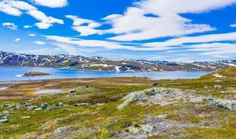 Vavatn lake panorama landscape boulders mountains Hemsedal Norway. photo
