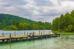 Pier jetty Plitvice Lakes National Park Croatia best landscapes. photo