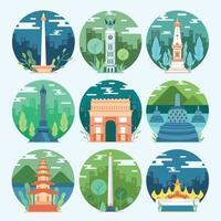 Indonesia Landmark Icon Template Set vector