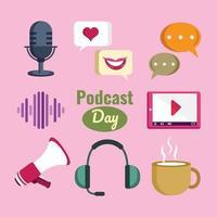 conjunto de plantillas de iconos de día de podcast vector