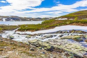 Vavatn lake panorama landscape snow mountains Hemsedal Norway. photo