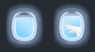 Realistic airplane windows vector illustration