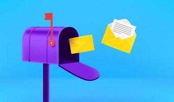 buzón abierto con letras voladoras. recibir el concepto de correo vector