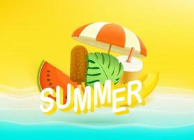 Summer banner with tropical fruits and beach stuff vector