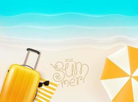 Seaside with yellow bag and umbrella. Hello summer vector