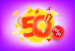 50 percent shopping discount concept vector