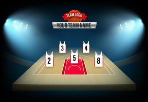 Basketball  team formation template. Illuminated stadium with players vector