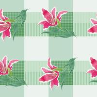 Seamless pattern lily flowers on green pastel background. vector