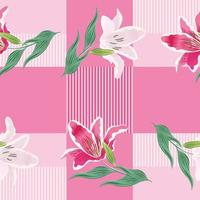 Seamless pattern lily flowers on pink pastel background. vector