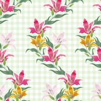 Seamless pattern lily flowers on green background. vector