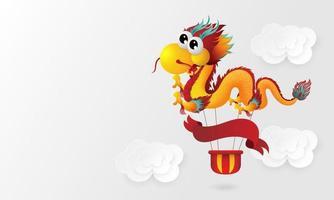 Hand drawn cute gold dragon character design vector