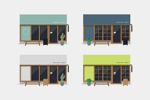 Set of modern coffee shop or cafe front view. vector