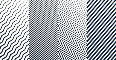 Geometric lines zigzag wavy pattern set of four Free Vector