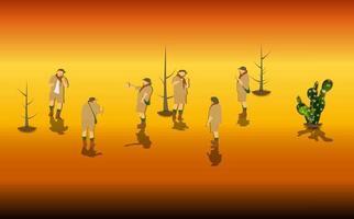 Set of Tourists in a Safari. Vector Illustration.