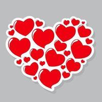 Heart Form Sticker Vector Illustration