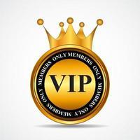 vector vip miembros solo signo de oro, plantilla de etiqueta