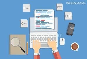 Programming Coding Flat Concept Vector Illustration