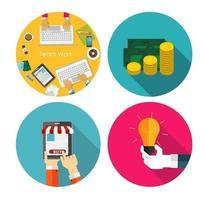 Money, Team Work, Idea, Online Shopping  Flat Design Concept vector