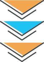 Three down arrows orange RGB color icon vector