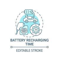 EV battery recharging time concept icon. vector