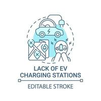 Eco car charging stations lack concept icon. vector