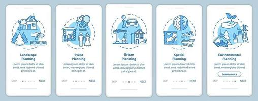 Landscape architecture onboarding mobile app page screen with concepts vector
