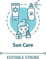 cuidado solar, protectores solares, icono de concepto de cosméticos de protección solar vector