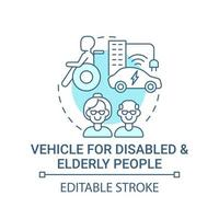 Transport for disabled and elderly people concept icon. vector