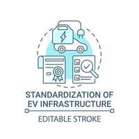 EV infrastructure standardization concept icon. vector