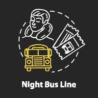 Night bus line chalk RGB color concept icon vector