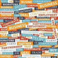 Seamless pattern, which is composed of words on business themes. vector