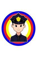 Police in labor day cartoon illustration vector