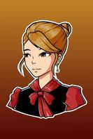 Black and red dress girl character illustration vector