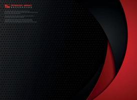 tecnología abstracta gradiente rojo y negro plantilla geometría acero. vector
