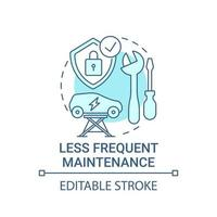 Electric vehicle less frequent maintenance concept icon. vector
