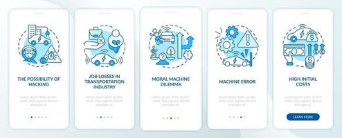 Driverless cons onboarding mobile app page screen. vector